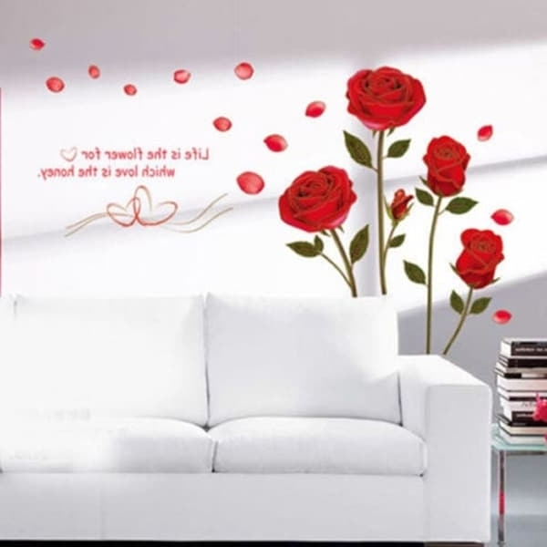 Shop Home Decor Red Rose Wall Decal Mural Removable Flowers Wall In Best And Newest Red Rose Wall Art (View 6 of 15)