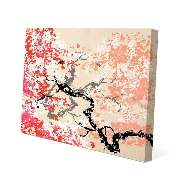 Shop 'red Cherry Blossom' Canvas Abstract Wall Art – On Sale – Free Within Trendy Abstract Cherry Blossom Wall Art (View 12 of 15)