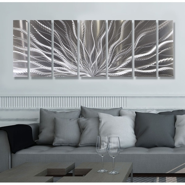 Shop Statements2000 Silver Abstract Etched Metal Wall Art Sculpture Throughout 2017 Abstract Leaf Metal Wall Art (View 15 of 15)