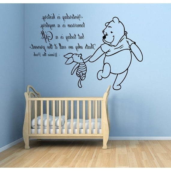 Shop Winnie The Pooh Quotes Children Kids Art Mural Girl Boy Nursery Within Most Current Winnie The Pooh Nursery Quotes Wall Art (View 10 of 15)