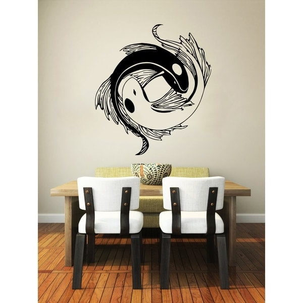 Shop Yin Yang Koi Fish Black Vinyl Sticker Wall Art – Free Shipping Inside Well Liked Yin Yang Wall Art (View 12 of 15)