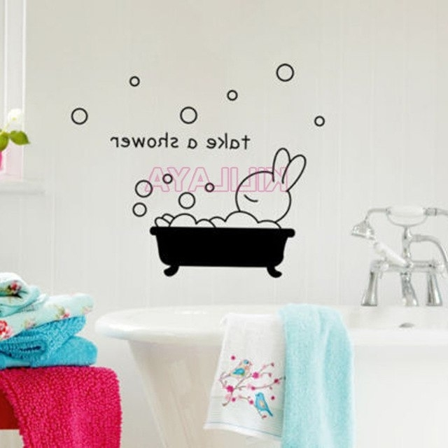Shower Room Wall Art Throughout Favorite Cartoon Sticker Take A Shower Rabbit Vinyl Wall Stickers For (View 8 of 15)