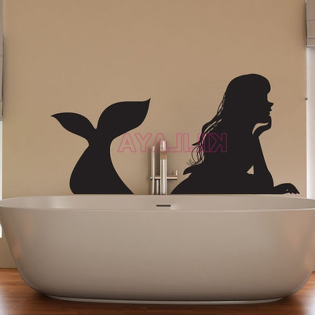 Shower Room Wall Art With Recent Sticker Mermaid Vinyl Wall Stickers For Bathroom Shower Room Wall (View 5 of 15)