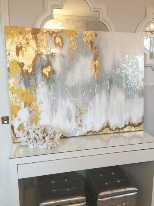 Silver And Gold Wall Art Inside Recent 100 Hand Painted Wall Art Abstract Painting Gold And, Silver And (View 8 of 15)