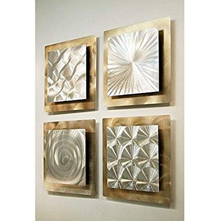 Silver And Gold Wall Art With Latest Gold & Silver Abstract Metal Wall Art – Set Of 4 Panel Modern Home (View 4 of 15)