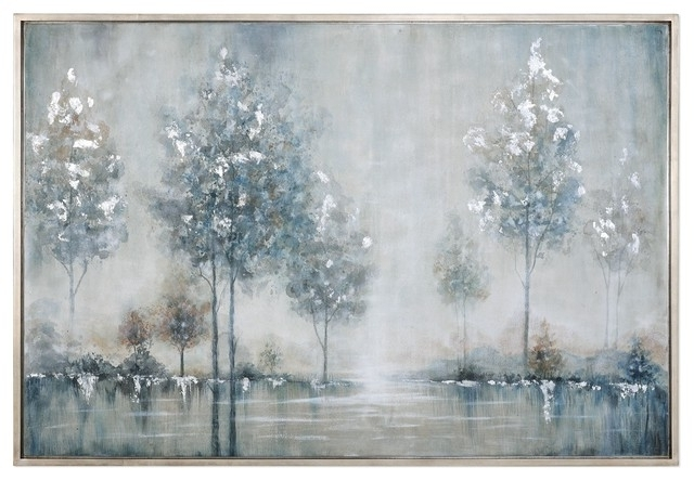 Silver Blue Trees Water Wall Art, Lake Painting – Contemporary With Newest Blue And Silver Wall Art (View 2 of 15)