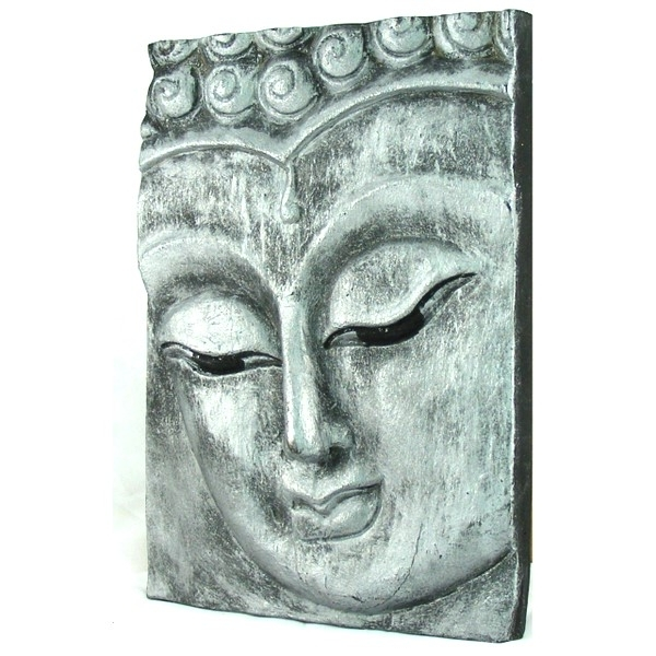 Silver Buddha Wall Art With Preferred Wooden Buddha Face Wall Art Panel 25Cm X 18Cm 10X7 Old Silver (View 10 of 15)