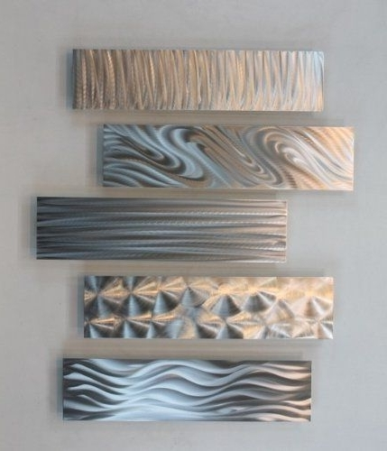 Silver Rectangular Metal Wall Accent Multi Panel Etched  (View 8 of 15)