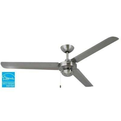 Silver – Stainless Steel – Ceiling Fans – Lighting – The Home Depot For Well Liked Stainless Steel Outdoor Ceiling Fans With Light (View 9 of 15)
