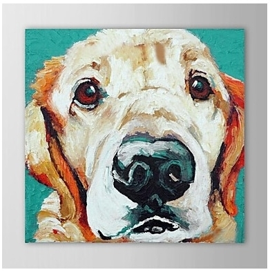 Single Hand Painted Modern Animal Pets Dog Canvas Oil Painting Wall Throughout Popular Abstract Dog Wall Art (View 11 of 15)