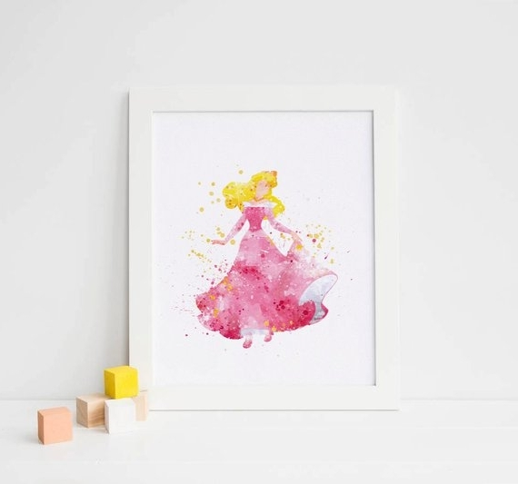 Sleeping Beauty Art Disney Watercolor Sleeping Beauty Print, Disney Throughout Most Up To Date Disney Princess Wall Art (View 13 of 15)