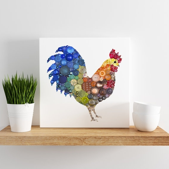 Small Canvas Print – Button Rooster, Farmhouse Kitchen Decor In Popular Small Canvas Wall Art (View 9 of 15)