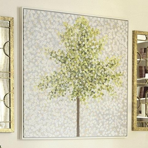 Snowbirds And Blossoms Hand Painted Grey And Green Canvas With Most Recent Yellow And Green Wall Art (View 8 of 15)