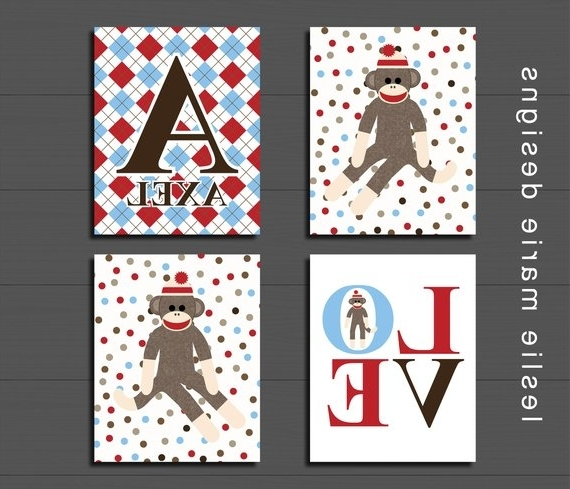 Sock Monkey Wall Art Regarding Best And Newest Personalized Sock Monkey Wall Art Nursery Wall Decor (View 11 of 15)