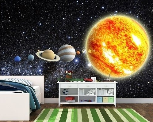 Solar System Wall Art Pertaining To 2017 Solar System Wall Murals Decals Stickers Wallpaper Mural Photo Paper (View 14 of 15)