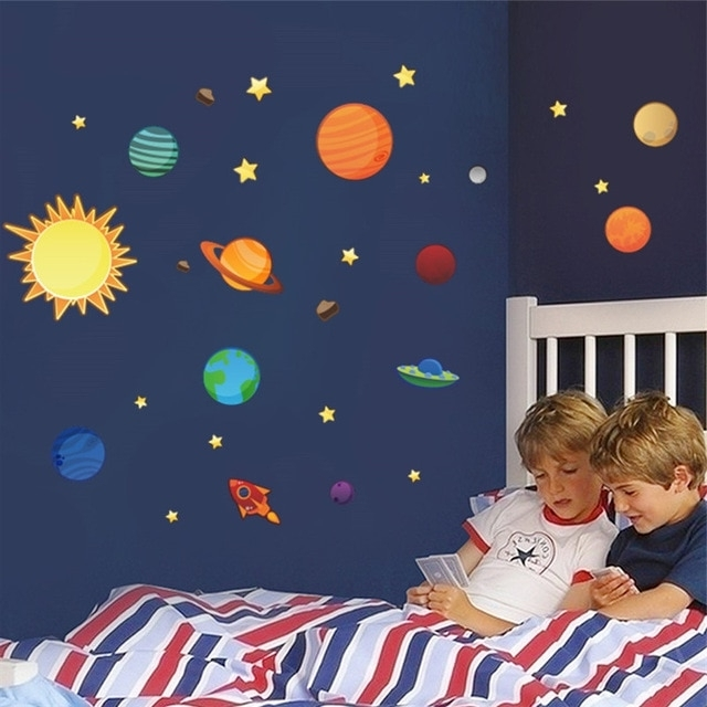 Solar System Wall Art Throughout Popular Solar System Wall Stickers For Kids Rooms Stars Outer Space Sky Wall (View 11 of 15)