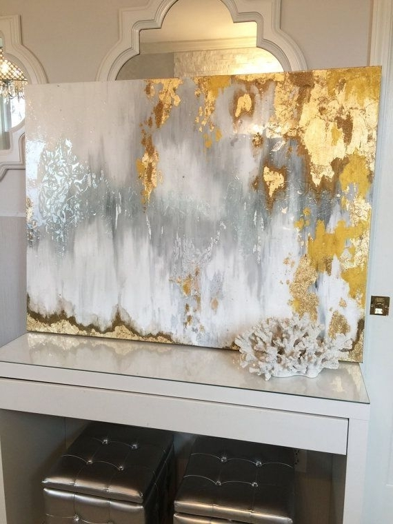 Sold!! Acrylic Abstract Art Large Canvas Painting Gray, Silver, Gold Inside Preferred Silver And Gold Wall Art (View 2 of 15)