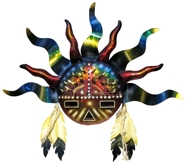 Southwestern Metal Wall Art With Regard To Well Known Southwest Indian Sun 3D Metal Wall Art Sculpture (View 12 of 15)