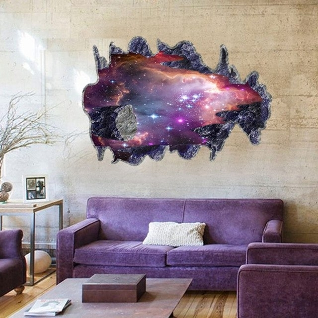 Space 3D Vinyl Wall Art Regarding Trendy 3D Wall Sticker Removable Novelty Outer Space Galaxy Meteorite Vinyl (View 7 of 15)