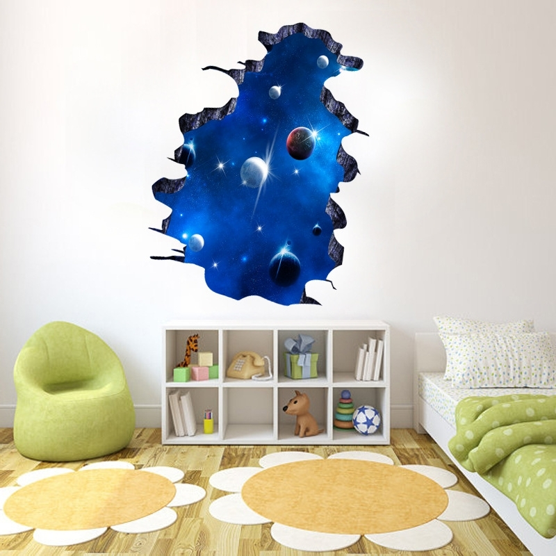 Space 3D Vinyl Wall Art Regarding Well Liked Decals Blue Outer Space Removable Vinyl Art Home Decor 3D Galaxy (View 12 of 15)