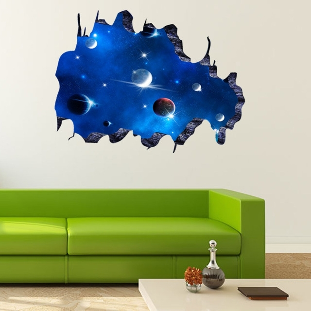 Space 3D Vinyl Wall Art With Most Recently Released Galaxy Planet Space Wall Sticker For Kids Boys Bedroom Art Vinyl 3D (View 13 of 15)