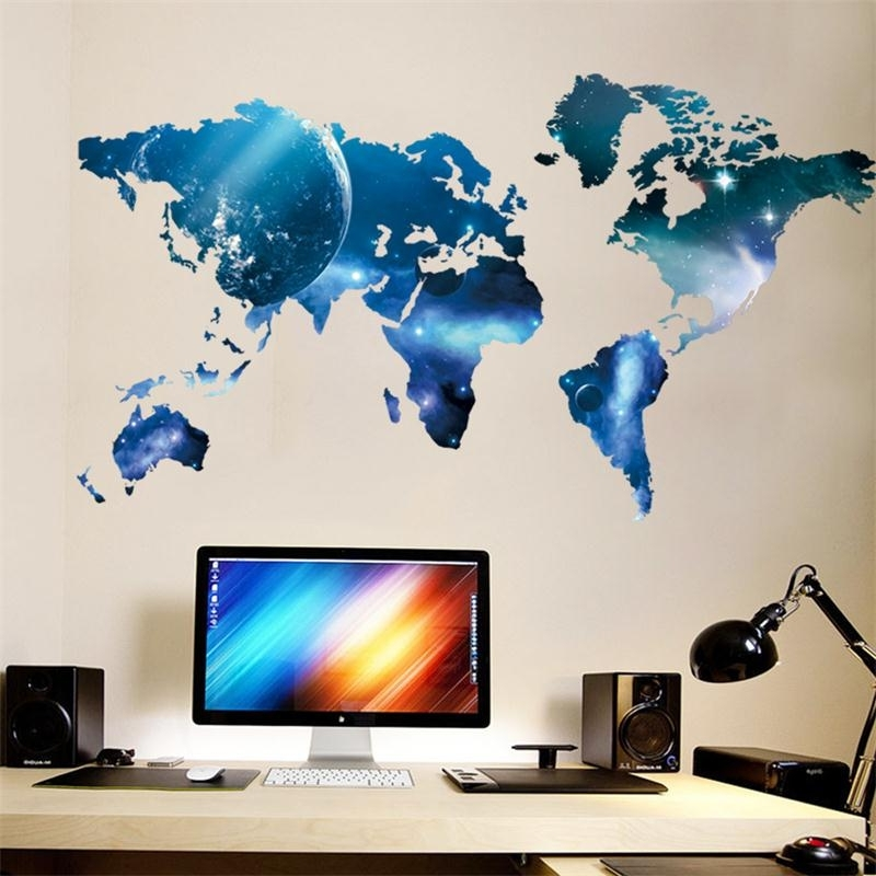 Space 3D Vinyl Wall Art Within Recent 3D World Map Outer Space Star Sky Home Office Decal Wall Art Wall (View 3 of 15)