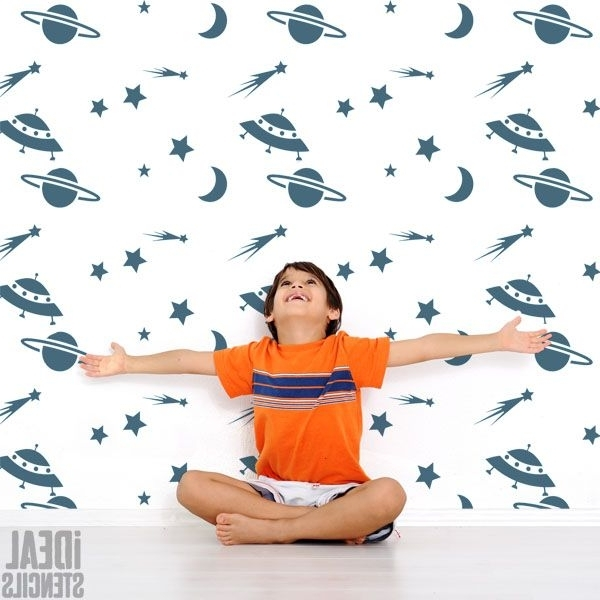 Space Stencils For Walls Pertaining To Well Known Space Stencil – Bespoke Kids Room Wall Decor (View 9 of 15)