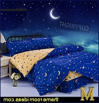 Space Stencils For Walls Throughout Most Recent Celestial Moon Stars Bedroom Decorating Ideas – Celestial Theme Bed (View 9 of 15)