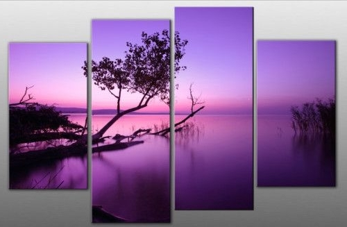 Split Wall Art Regarding Well Liked Large Purple Tone Lake Split Canvas Picture Wall Art Multi 4 Panel (View 13 of 15)