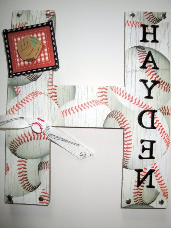 Sports Baseball 3D Custom Wall Letter, Nursery Wall Letter, Kids Within Most Popular Baseball 3D Wall Art (View 6 of 15)