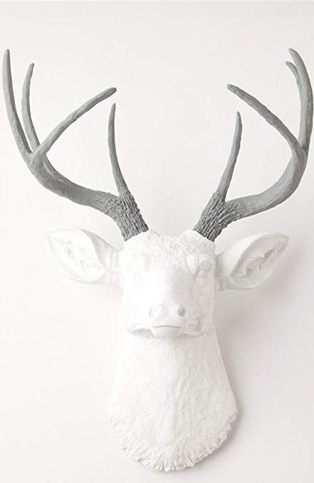 Stag Head Wall Art For Recent Amazon: White Faux Deer Head Wall Mount With Grey Antlers – The (View 8 of 15)