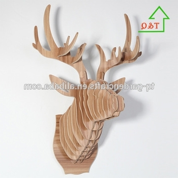 Stag Head Wall Art Regarding Famous Wooden Deer Head Wall Art Hanging 3D Stag Head Antlers Home (View 10 of 15)