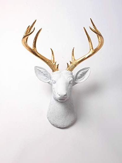 Stag Head Wall Art With Regard To 2017 Amazon: Xl Deer Head Wall Hanging, The Xl Alfred White And Gold (View 12 of 15)