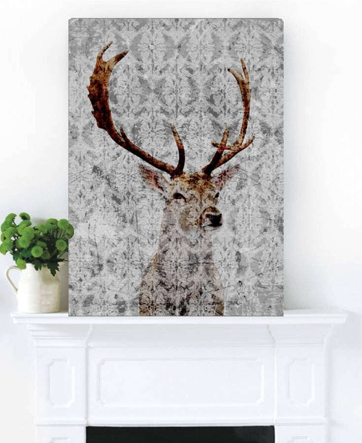 Stag Wall Art For Preferred Highlands Stag Canvas Artpalm Valley (View 9 of 15)
