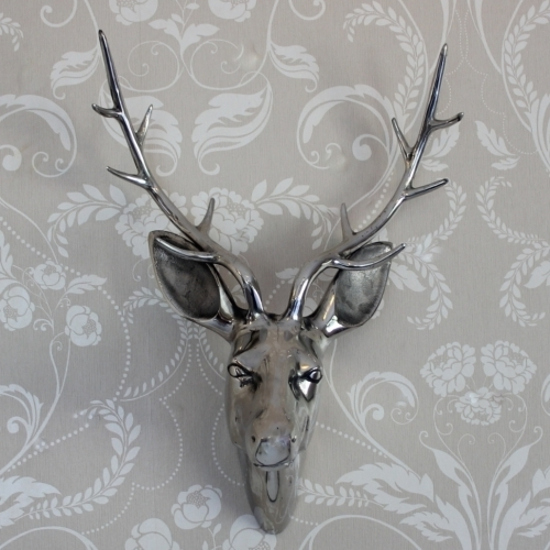 Stags Head Wall Art For Most Popular Silver Wall Mounting Stags Head – Melody Maison® (View 9 of 15)