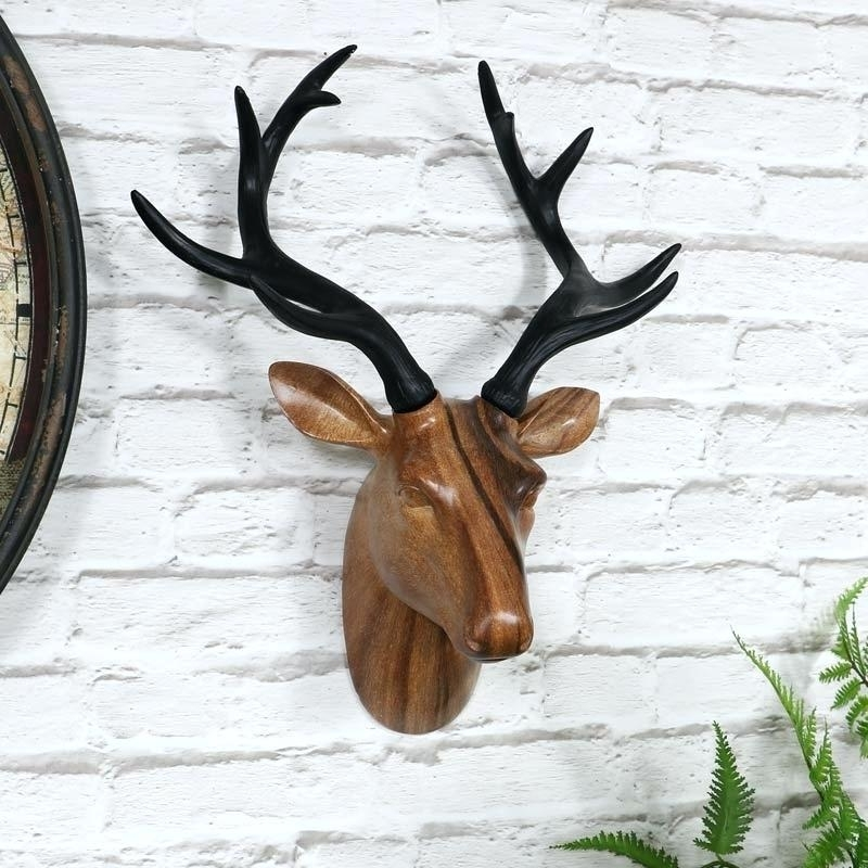 Stags Head Wall Art Intended For Recent Stags Head Wall Art Brown Resin Wall Mounted Stag Head Vintage (View 2 of 15)
