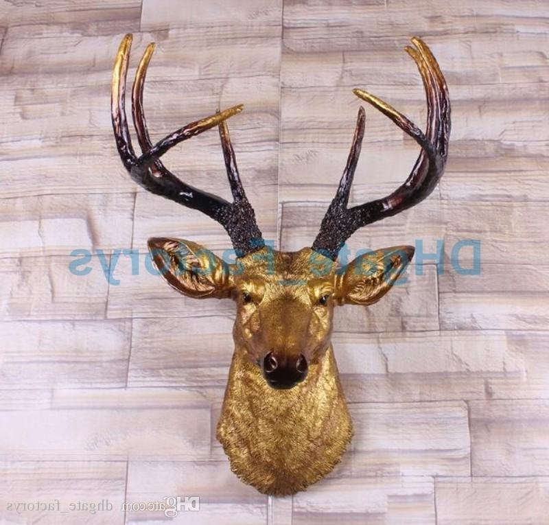 Stags Head Wall Art With Famous Online Cheap Big Size Gold Deer Head Wall Decor (View 12 of 15)