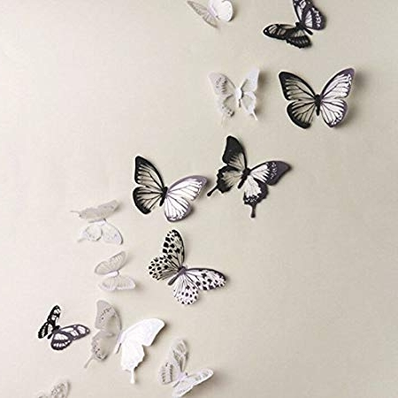 Staibc 18Pcs Diy 3D Butterfly Wall Stickers Art Decal Pvc With Well Known Diy 3D Wall Art Butterflies (View 13 of 15)