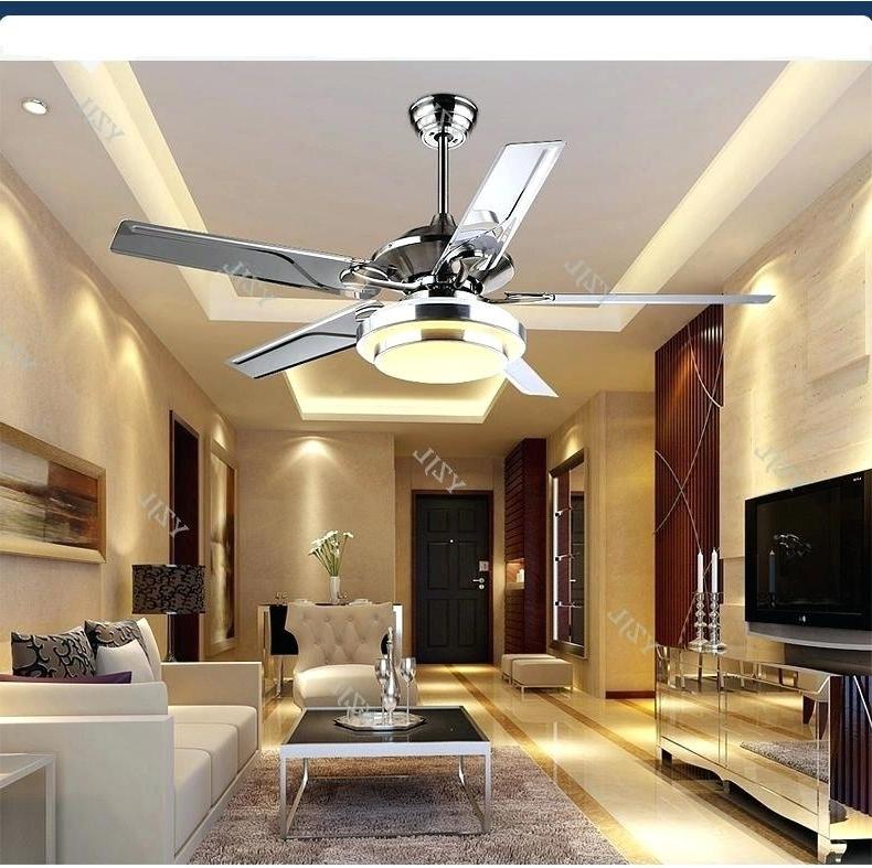 Stainless Steel Outdoor Ceiling Fan Led Modern Minimalist Lamp Fan Inside Well Liked Stainless Steel Outdoor Ceiling Fans With Light (View 14 of 15)
