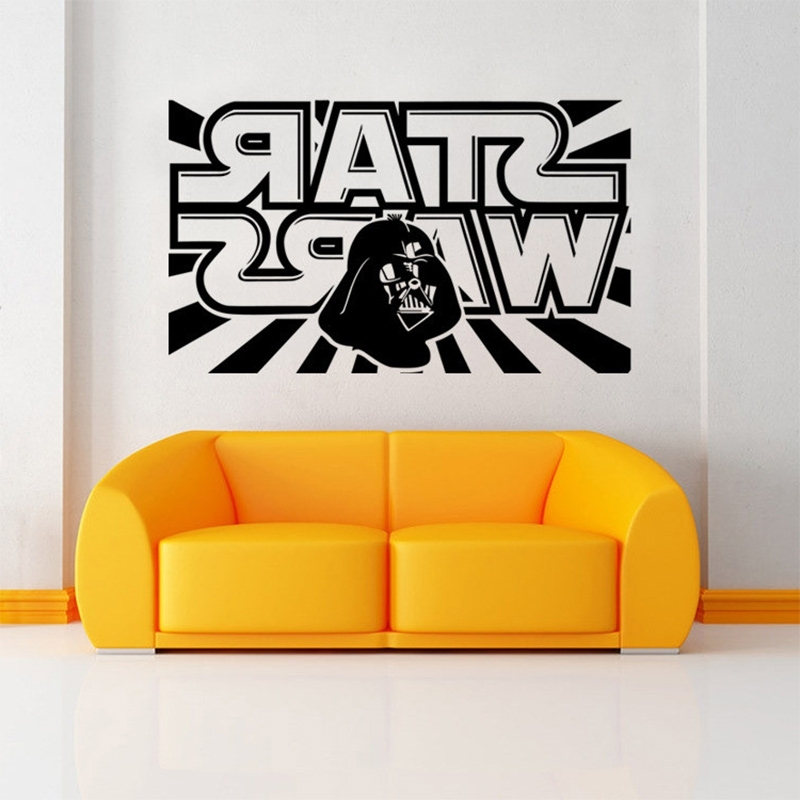 Star Wars Wall Decal With Darth Vader Vinyl Sticker Boys Bedroom Regarding Well Liked Lego Star Wars Wall Art (View 14 of 15)
