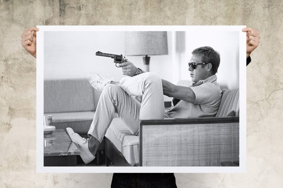 Steve Mcqueen Sofa Gun Art Print Large Print Wall Art Pertaining To Most Recently Released Steve Mcqueen Wall Art (View 13 of 15)