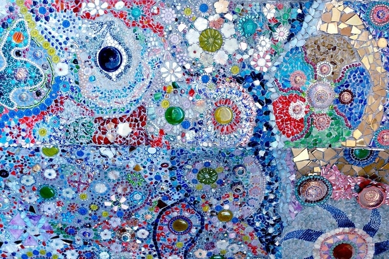 Stock Photo With Abstract Mosaic Art On Wall (View 13 of 15)