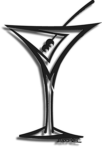 Straight Martini Glass 3D Metal Wall Art: Amazon.co (View 7 of 15)