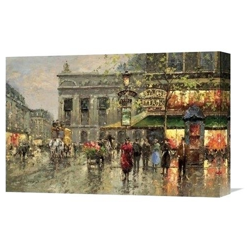 Street Scene Wall Art Within Recent Street Scene Wall Art Vintage Street Scenepainting On Wrapped (View 13 of 15)