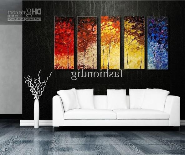 Stretched Abstract Landscape Knife Oil Painting Canvas Ready To Hang Regarding Most Popular Modern Abstract Huge Oil Painting Wall Art (View 5 of 15)