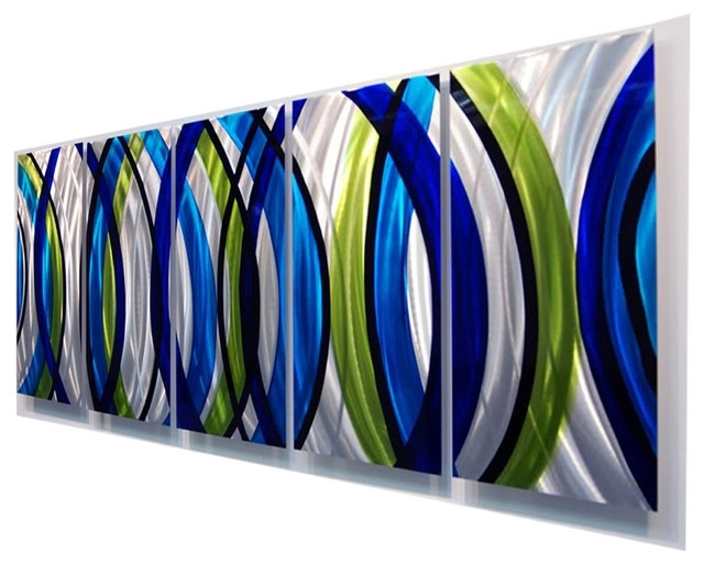 Stunning Modern Silver, Green And Blue Panel Metal Wall Art, Sonic With Most Recently Released Blue And Green Wall Art (View 3 of 15)