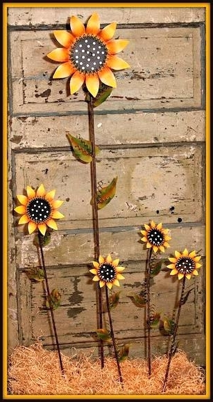 Sunflower Metal Art Contemporary Sunflower Wall Art Decor Metal In Trendy Metal Sunflower Yard Art (View 14 of 15)
