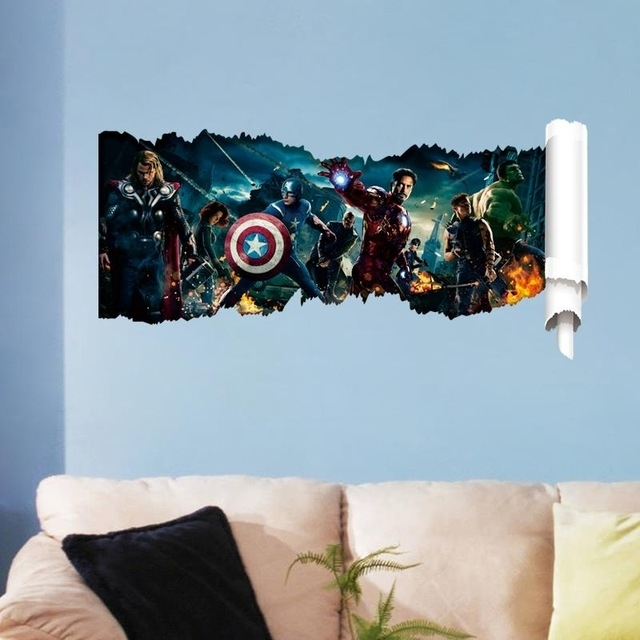 Super Hero Avengers 3D Wall Stickers Living Room Decoration Kids Inside Newest Avengers 3D Wall Art (View 11 of 15)