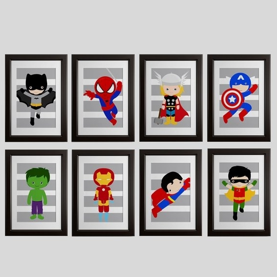 Superhero Wall Art For Kids In Most Popular Pick 6 Superhero Wall Prints Super Hero Wall Art Boys Room (View 9 of 15)