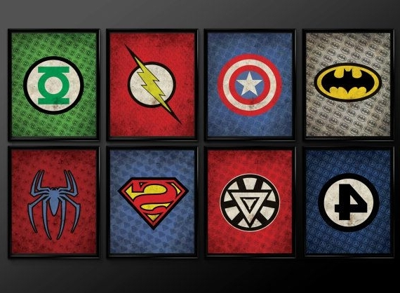 Superhero Wall Art For Kids inside Well-known Set Of 8 Superhero Wall Art Decor Supermanthecuttingedgeshop